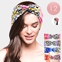 12PCS - Face Mask Holder Pearl Leopard Chain Print Headbands