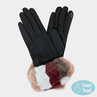 Suede Multi Color Faux Fur Cuff Fleece Lining Smart Touch Gloves