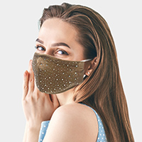 Stone Embellished Solid Color Fashion Mask
