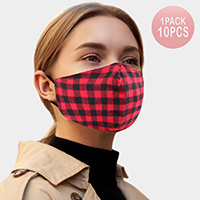 10PCS - Buffalo Check Print Cotton Fashion Masks