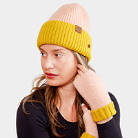 Face Mask Holder Button Two Tone Cable Knit Beanie Hat
