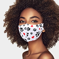 Paw Heart Print Fashion Mask