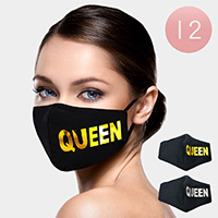 12PCS - QUEEN Print Fashion Masks