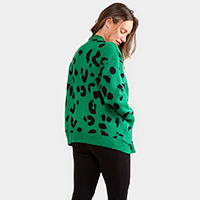 Leopard Pattern In Front Button Closure Pocket Cardigan
