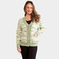 Zebra Pattern In Front Button Closure Pocket Cardigan