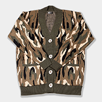 Camouflage Pattern In Front Button Closure Pocket Cardigan