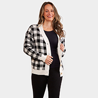 Buffalo Check Pattern In Front Button Closure Pocket Cardigan