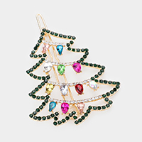 Colorful Teardrop Stone Christmas Tree Barrette