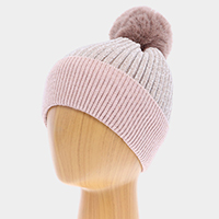 Solid Knit Faux Fur Pom Pom Beanie Hat