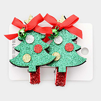 2PCS - Bling Christmas Tree Snap Alligator Hair Clips