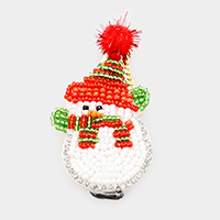 Seed Bead Snowman Pom Pom Snap Alligator Hair Clip