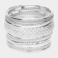 11PCS - Pearl Rhinestone Metal Bangle Layered Bracelets