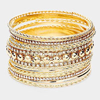 13PCS - Rhinestone Metal Bangle Layered Bracelets