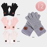 12Pairs - Button Accented Faux Fur Cuff Knit Gloves