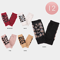 12Pairs - Leopard Pattern Fingerless Mitten Gloves