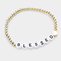 BLESSED Metal Ball Message Stretch Bracelet