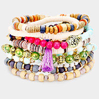 10PCS - Boho Wood Multi Bead Tassel Charm Layered Stretch Bracelets