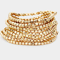 11PCS - Metal Cube Bead Stretch Bracelets