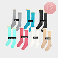 12Pairs - Lace Detail Solid Knee High Socks
