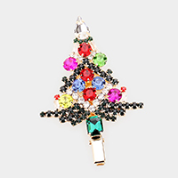 Colorful Multi Stone Christmas Tree Snap Alligator Hair Clip