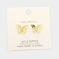 Gold Dipped CZ Butterfly Sterling Silver Post Stud Earrings