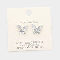 White Gold Dipped CZ Butterfly Sterling Silver Post Stud Earrings