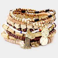 12PCS - Wood Multi Bead Metal Disc Charm Stretch Bracelets