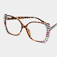 Colorful Stone Embellished Square Sunglasses