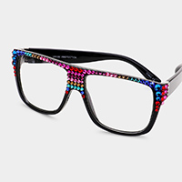 Colorful Stone Embellished Wayfarer Retro Sunglasses
