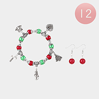 12Set - Christmas Theme Charm Stretch Bracelet and Earring Set