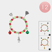 12PCS - Christmas Theme Charm Stretch Bracelets