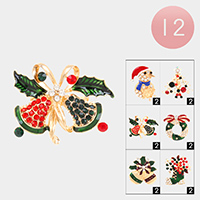 12PCS - Christmas Theme Pin Brooches