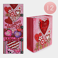 12PCS - Valentine's Day Heart Print Gift Bags