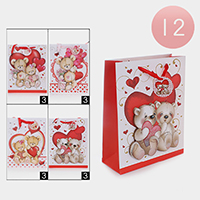 12PCS - Valentine's Day Bear Heart Print Gift Bags