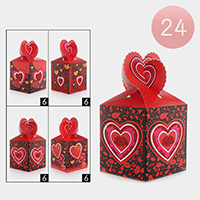 24PCS - Valentine's Day Heart Print Folding Gift Bags