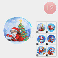 12PCS - Santa Claus Print Coin Zipper Purses