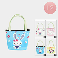 12PCS - Animals Print Zipper Tote Pouch Bags