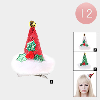 12PCS - Poinsettia Center Christmas Cone Hat Alligator Hair Clips