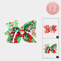 12PCS - Santa Clause Snowman Print Bow Alligator Hair Clips