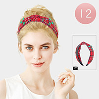 12PCS - Poinsettia Accented Plaid Check Christmas Burnout Knot Headbands