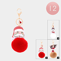 12PCS - Christmas Theme Pom Pom Key Chains