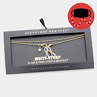 Secret Box _ 14K Gold Dipped CZ Evil Eye Mask Chain / Glasses Chain / Bracelet