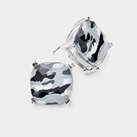 Camouflage Square Stone Stud Earrings
