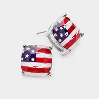 American USA Flag Square Stone Stud Earrings