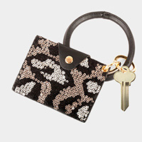 Leopard Pattern Sequin Card Holder Key Chain / Bracelet
