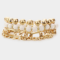 3PCS - Double Layered Chain Wood Metal Ball Stretch Bracelets