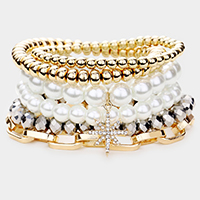 6PCS - Chain Link North Star Charm Pearl Metal Ball Layered Bracelets