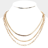 Metal Chain Triple Layered Necklace