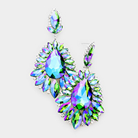 Teardrop Center Marquise Stone Cluster Evening Earrings