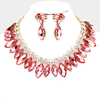 Marquise Stone Cluster Collar Evening Necklace